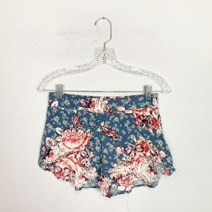 Free People floral print flowy shorts pink & blue